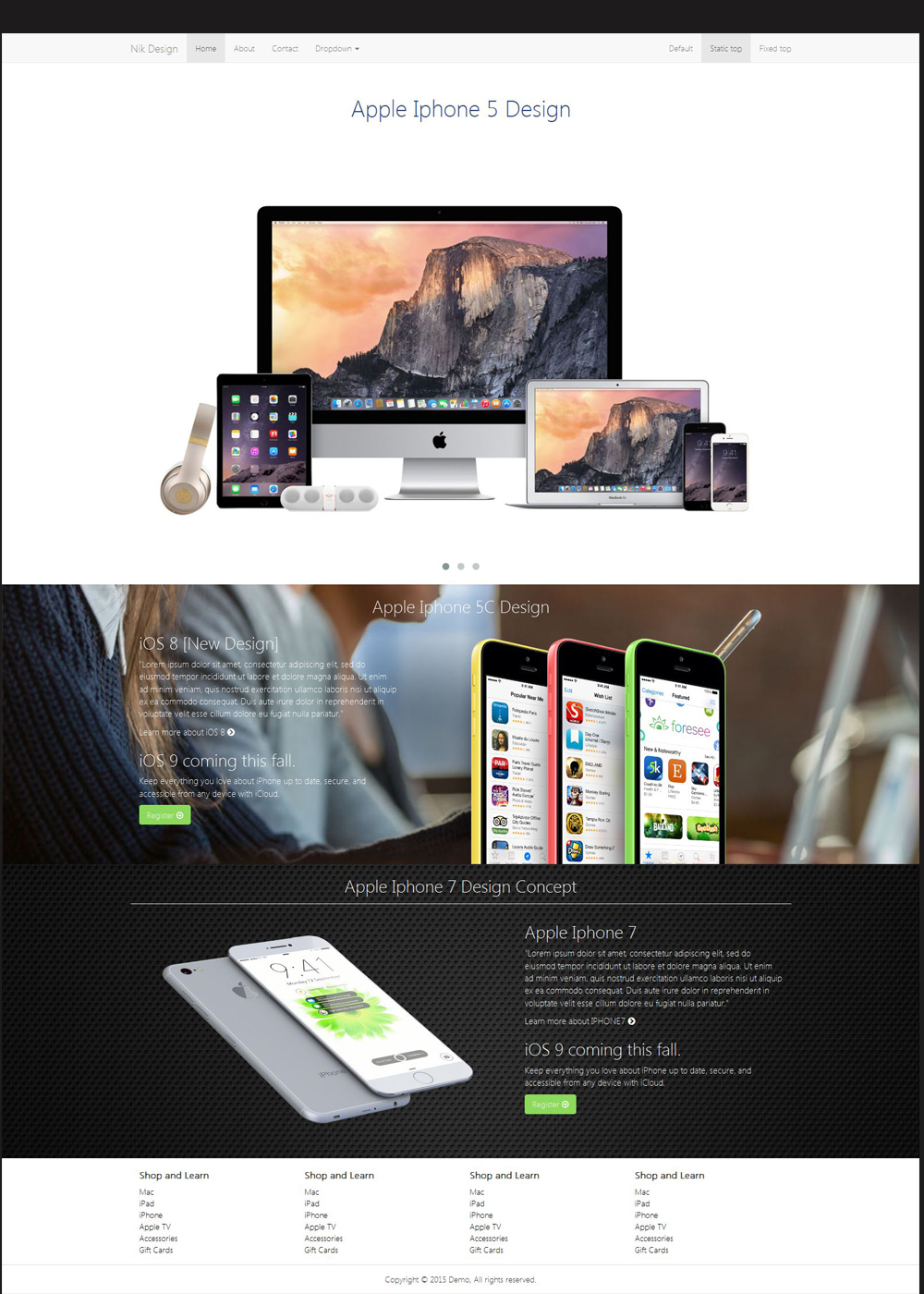 Free Html Template apple style