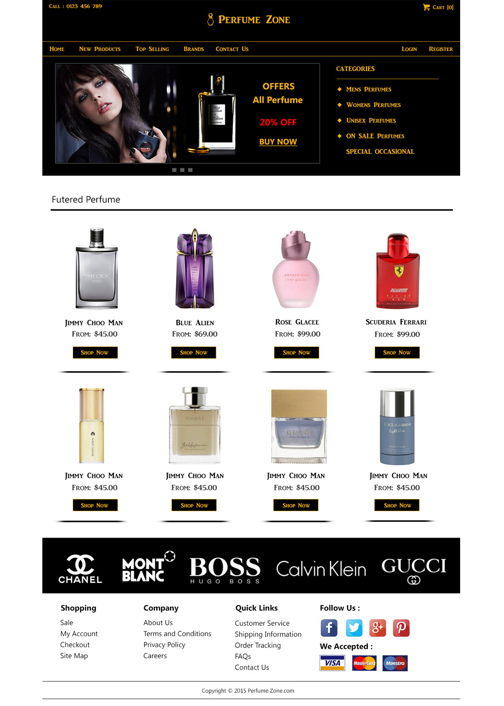 Free Perfume Website template
