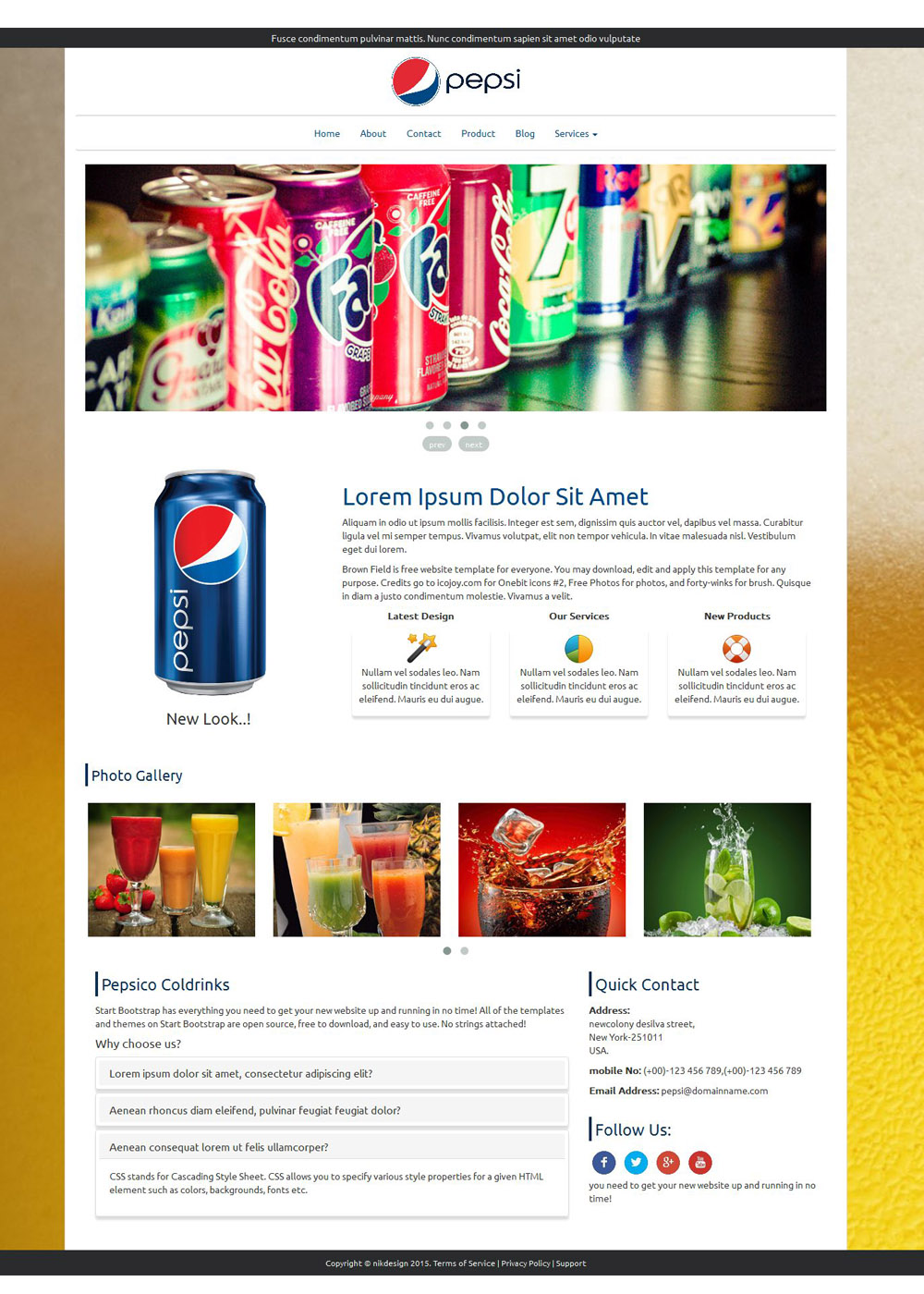 Free Pepsi HTML Template - Privacy policy html template