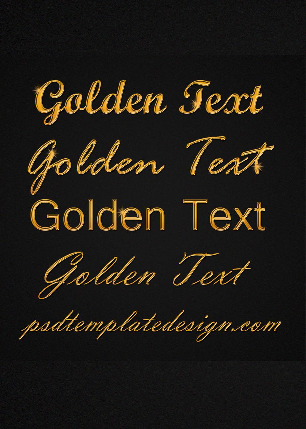 golden font psd template