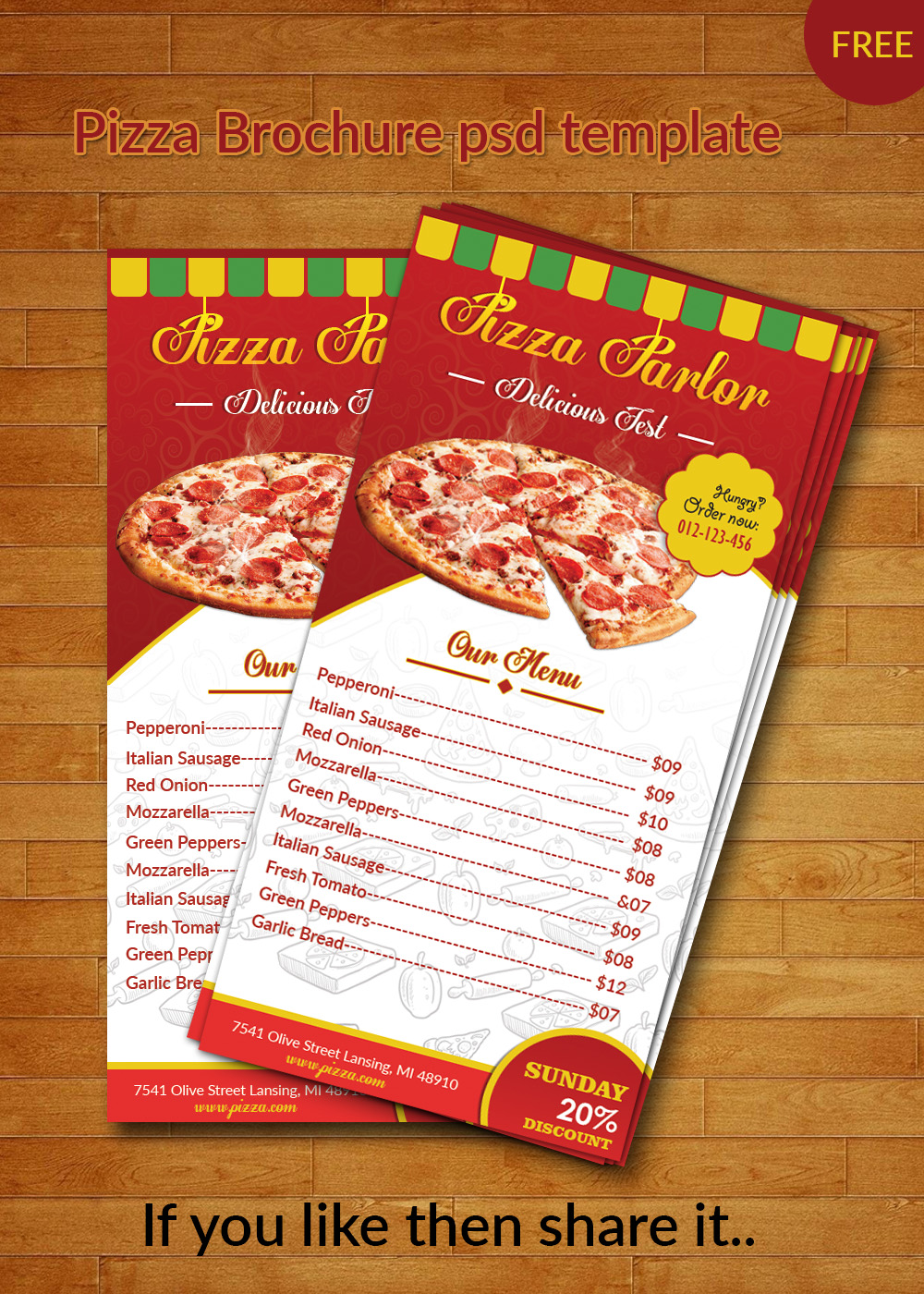 pizza brochure template