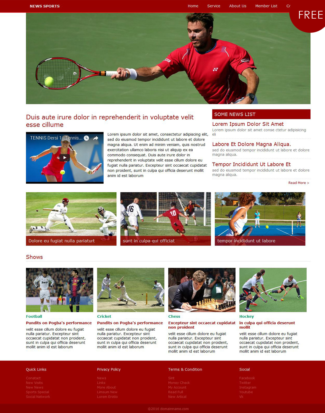 sports html templates