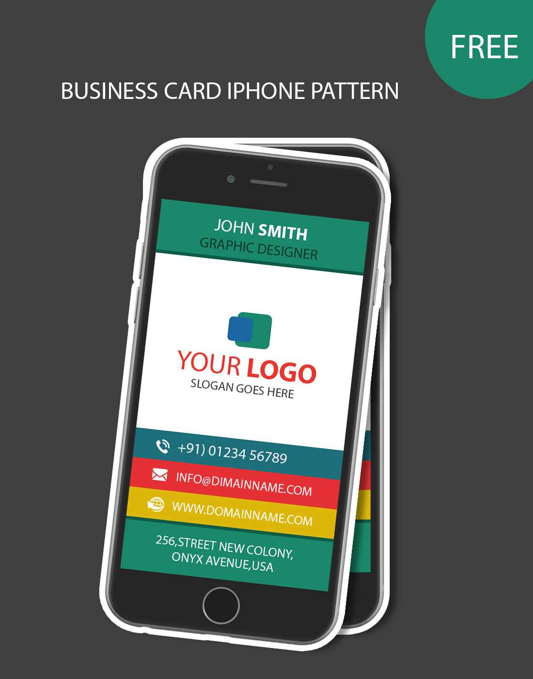 iphone pattern business card