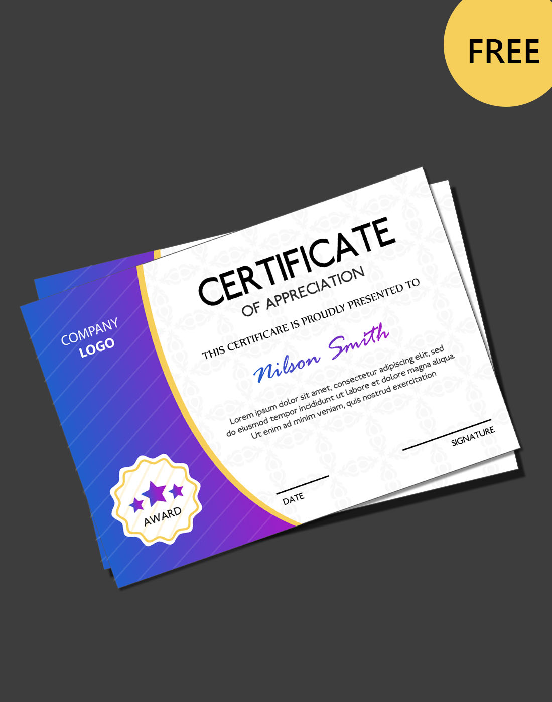 Free Certificate Psd Templates