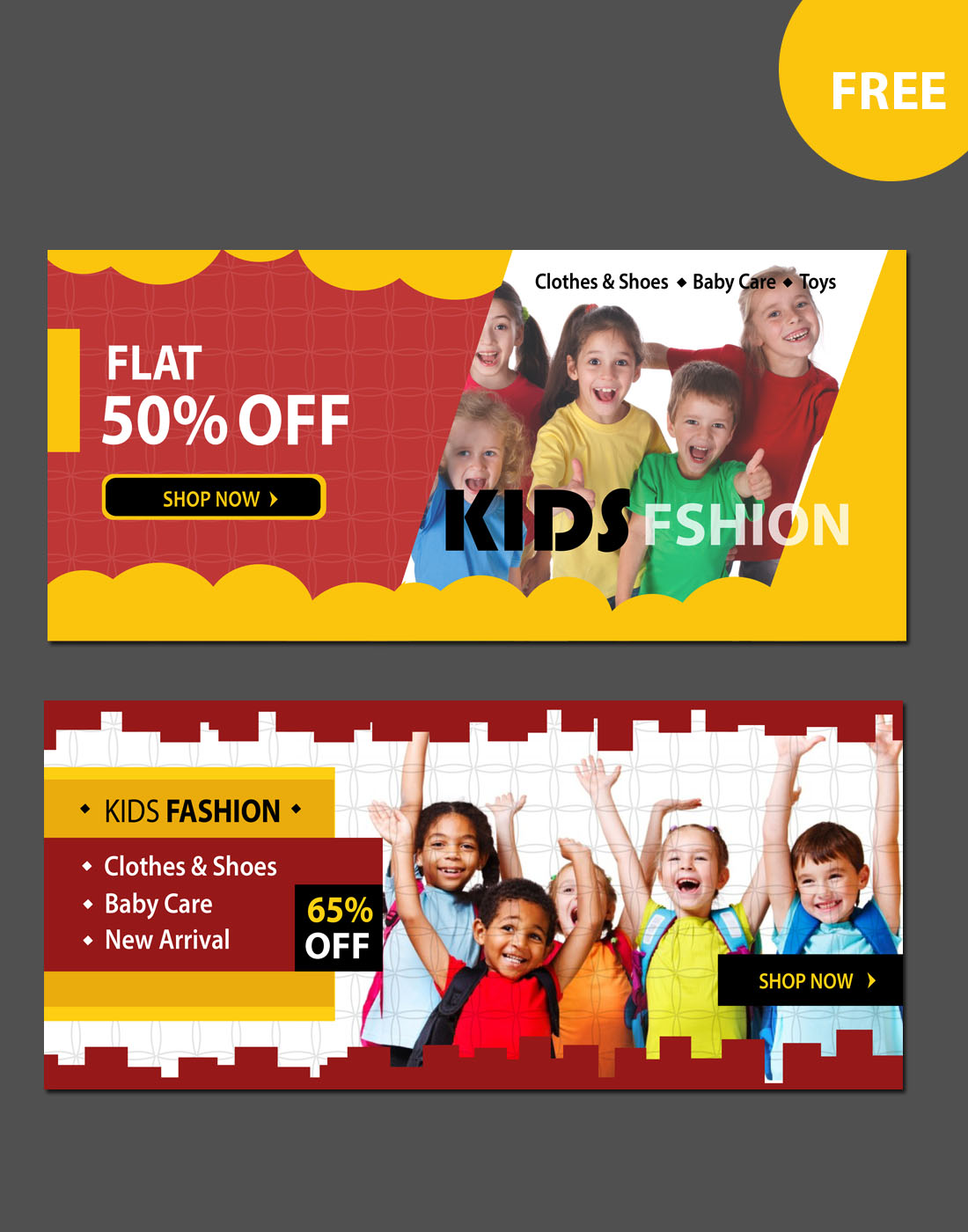 kids fashion website banners