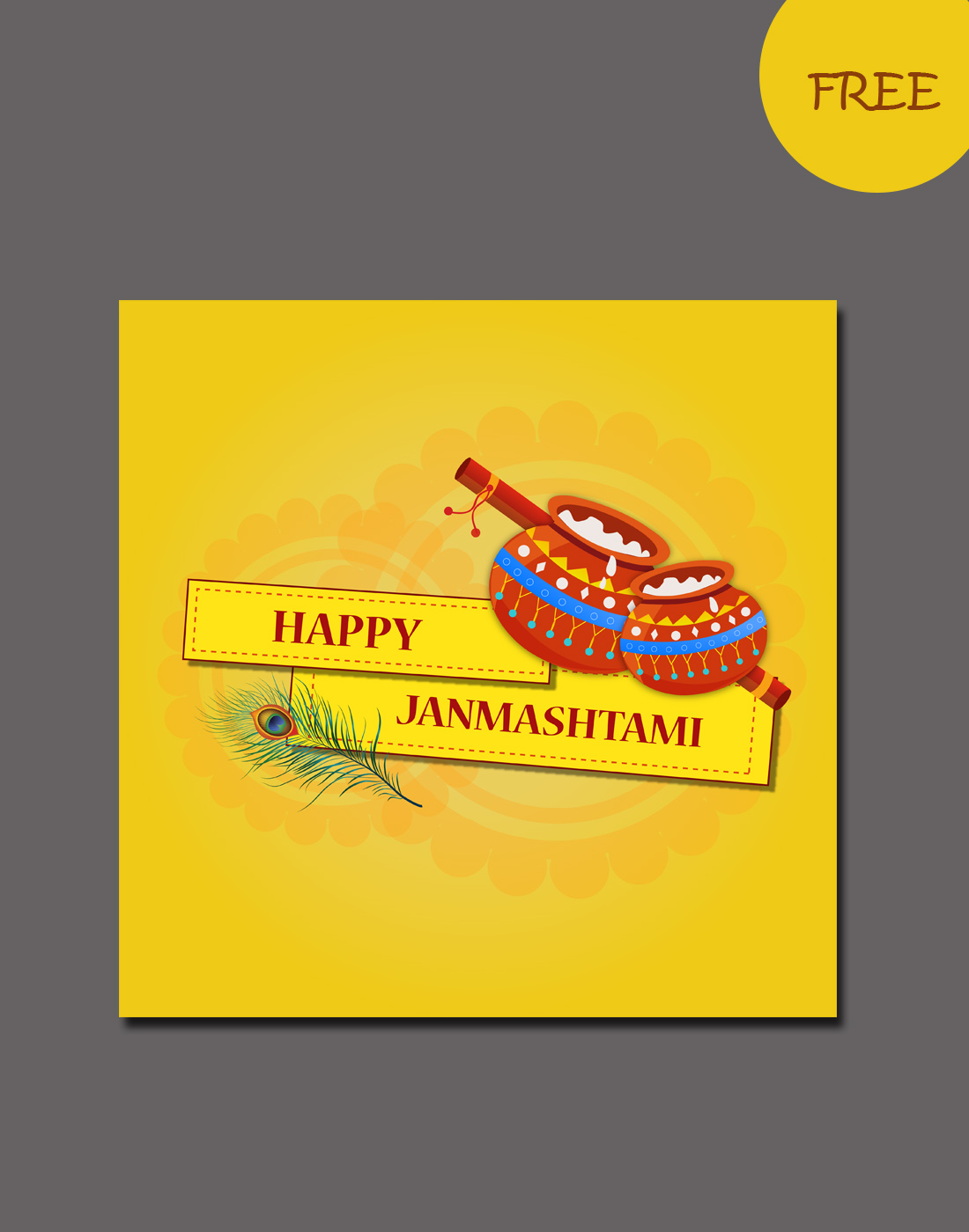 happy janmastami vector