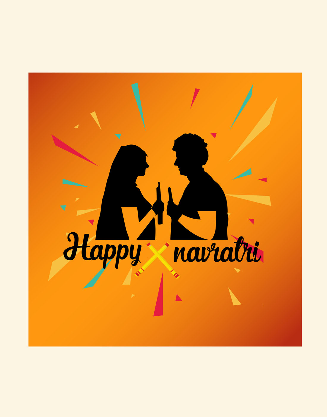 navratri couple vector