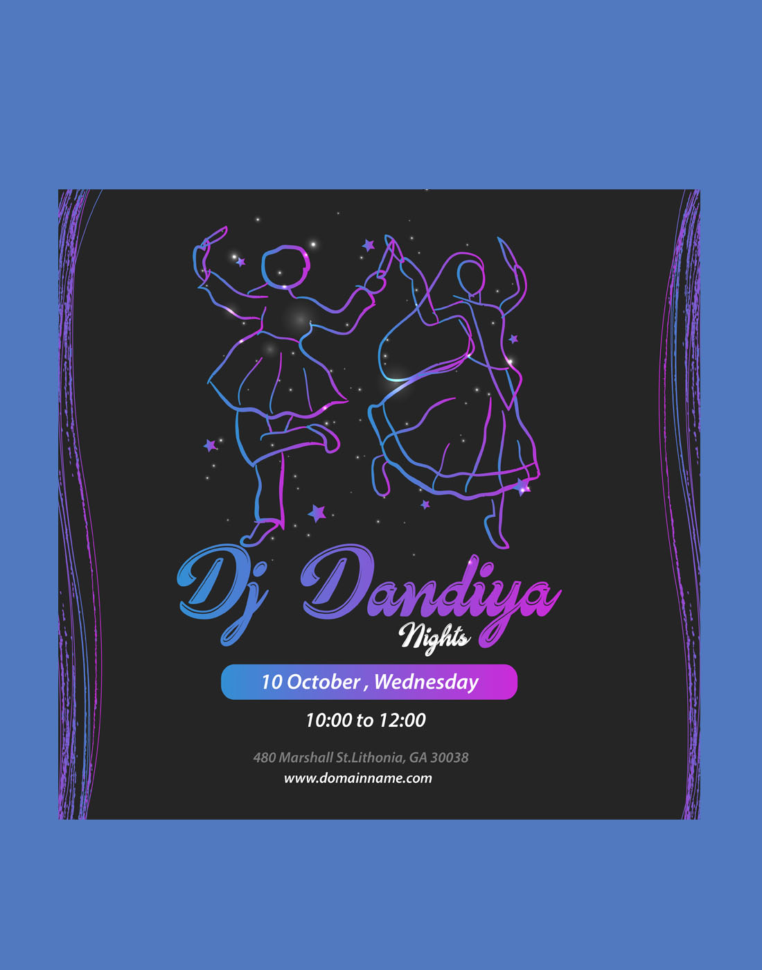 navratri invitation vector template